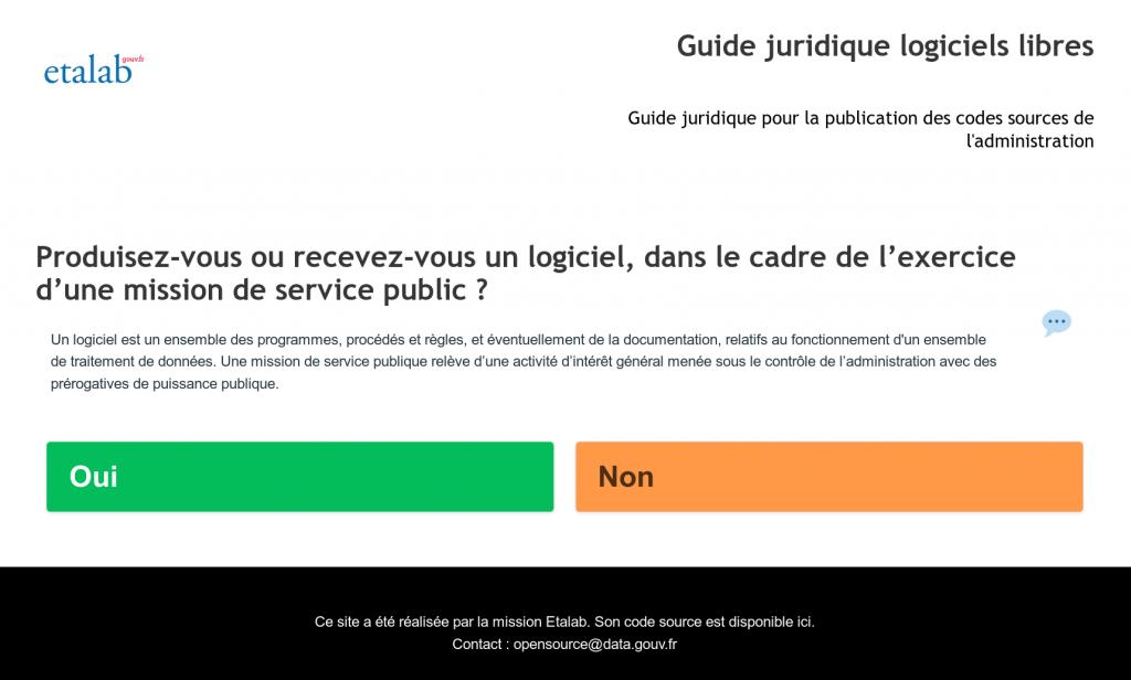 Guide juridique interactif pour la publication des codes sources de l'administration