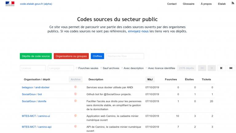 La page d'accueil de code.etalab.gouv.fr