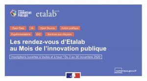 """Bannière ayant pour titre """"les rendez-vous d'Etalab au mois de l'innovation publique"""""""